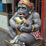 Hindu celebration - monkey statue with offering